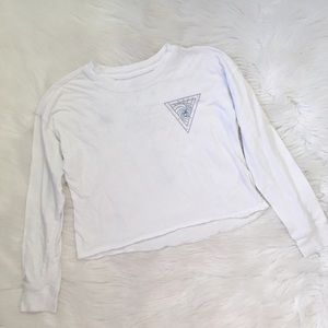 O'Neill White Crop Long Sleeve Graphic Tee Shirt